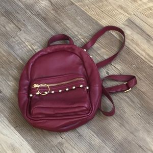 Red Leather Mini Backpack